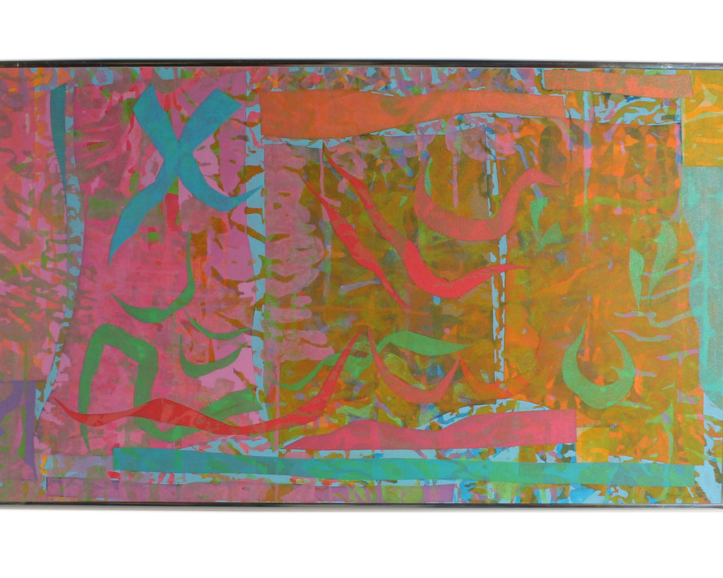"Walter Stomps 1997 Signed ""Ancient Signs II"" Acrylic on Canvas Abstract Painting"