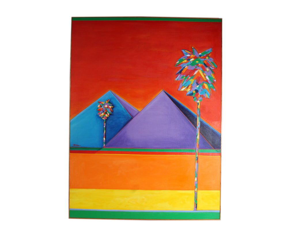 "Bob Bonn ""Passing Pyramids"" Abstract Oil on Canvas"