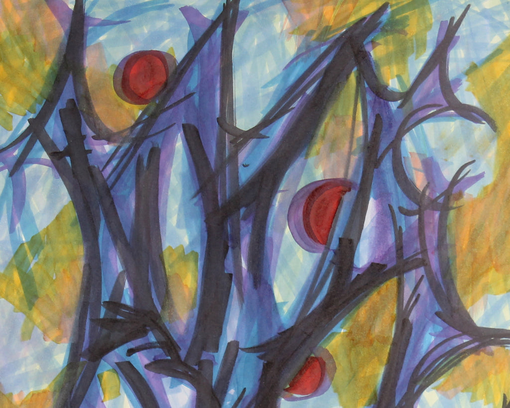 Vern Rader Signed Abstract Marker Drawing