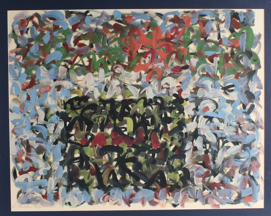 Walter Stomps 1962 Signed Oil on Paper Abstract Painting