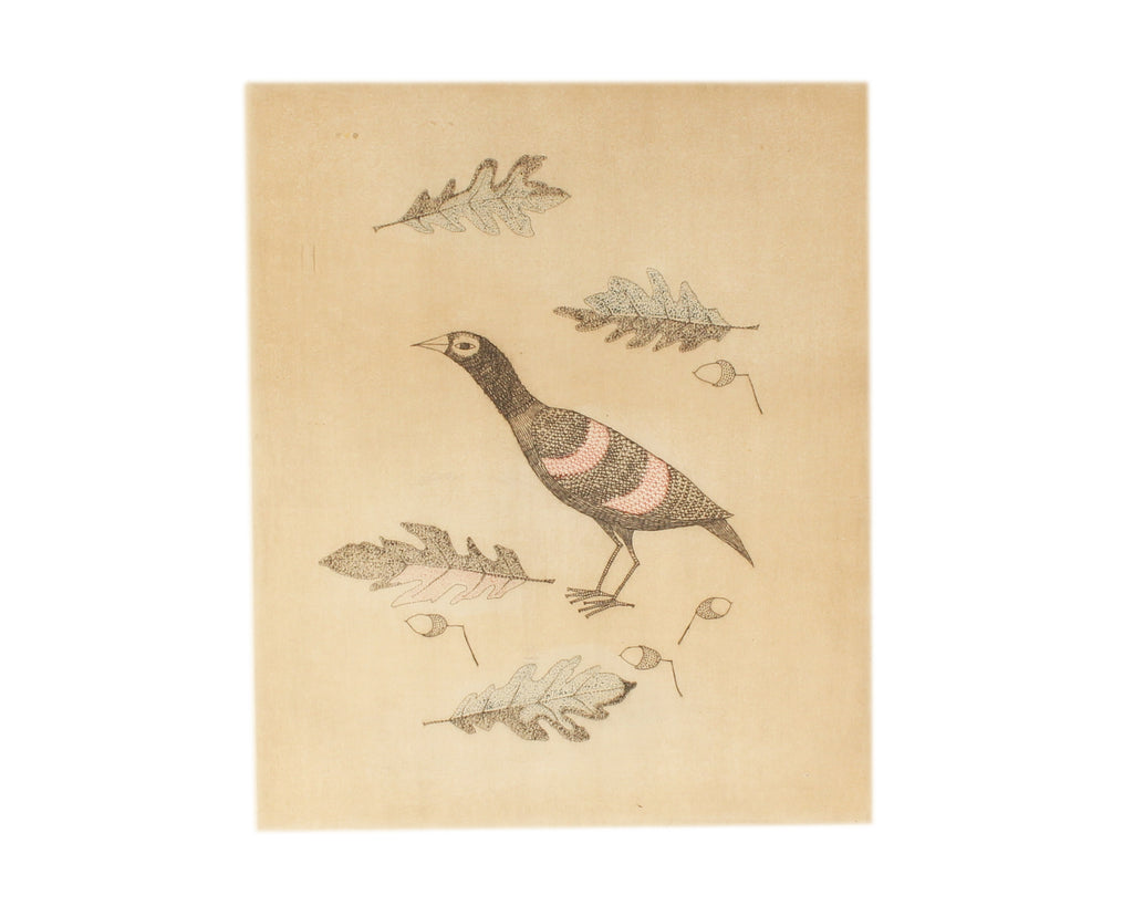 Keiko Minami Signed Abstract Etching of a Bird and Acorns