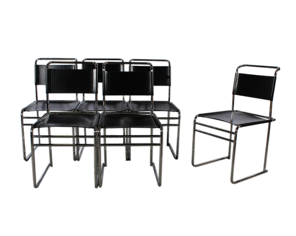 Bauhaus Style Modernist Chrome and Black Leather Chairs