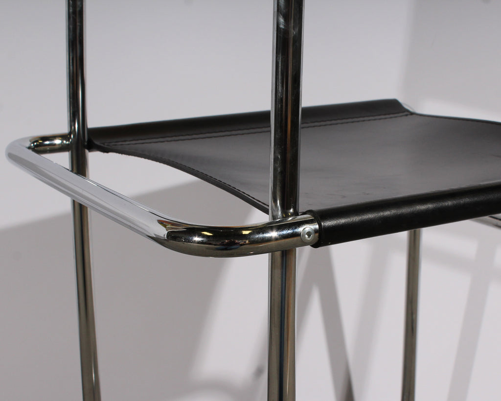 Bauhaus Style Modernist Chrome and Black Leather Dining Chairs