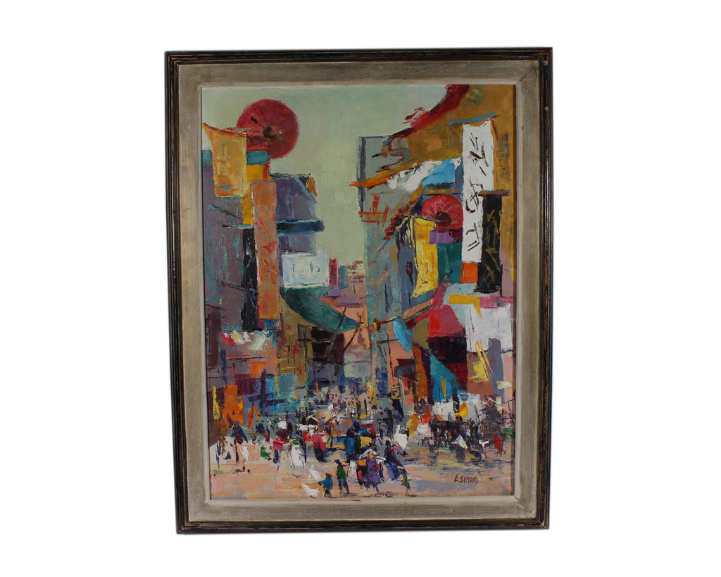 "Louise Symons Signed Oil on Canvas ""Chinatown"" Painting"