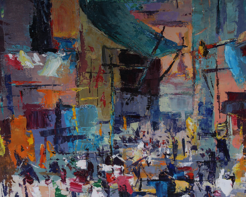 "Louise Symons Signed Oil on Canvas ""Chinatown"" Abstract Cityscape Painting"