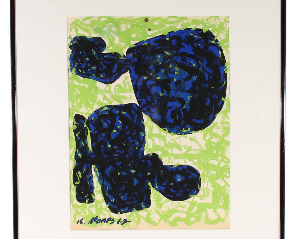 Walter Stomps 1962 Signed Abstract Gouache Painting
