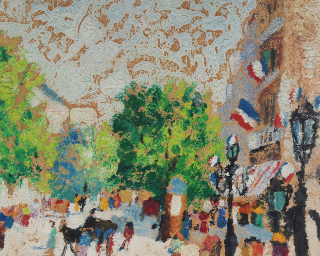 V. Fioravanti Signed Oil on Board Abstract French Cityscape Scene