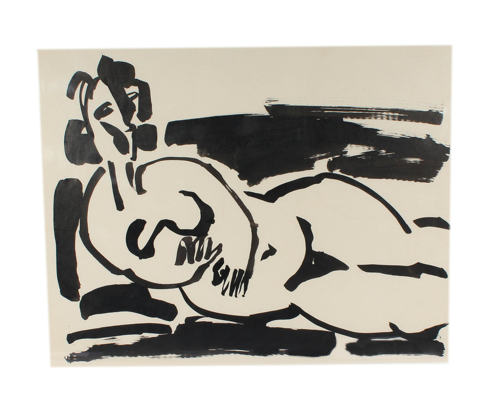 Walter Stomps Abstract Ink Painting of a Nude Woman