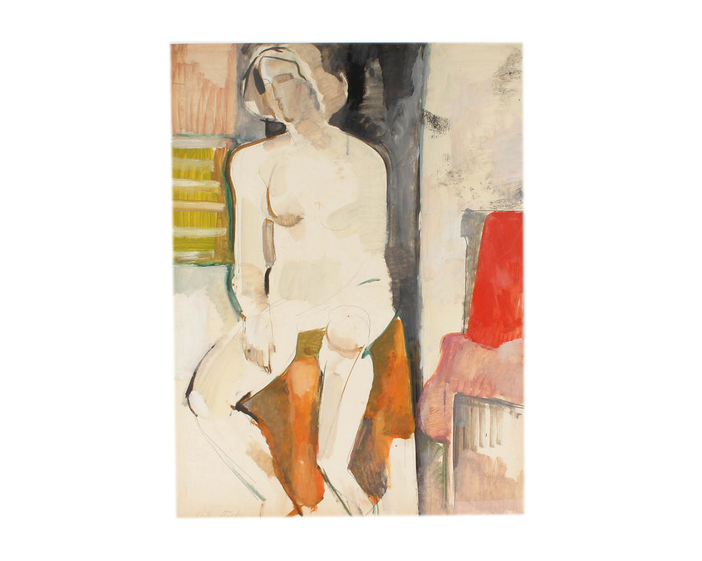 Walter Stomps Signed Oil on Paper of an Abstract Nude