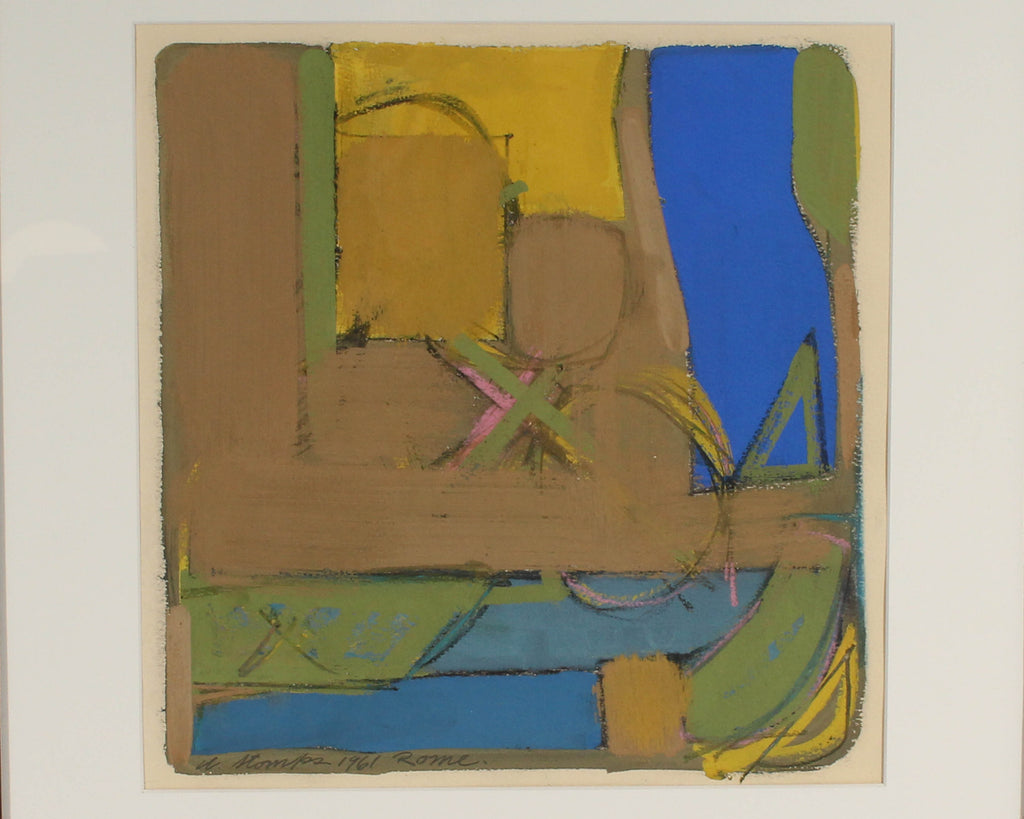 Walter Stomps 1961 Signed Abstract Gouache Painting