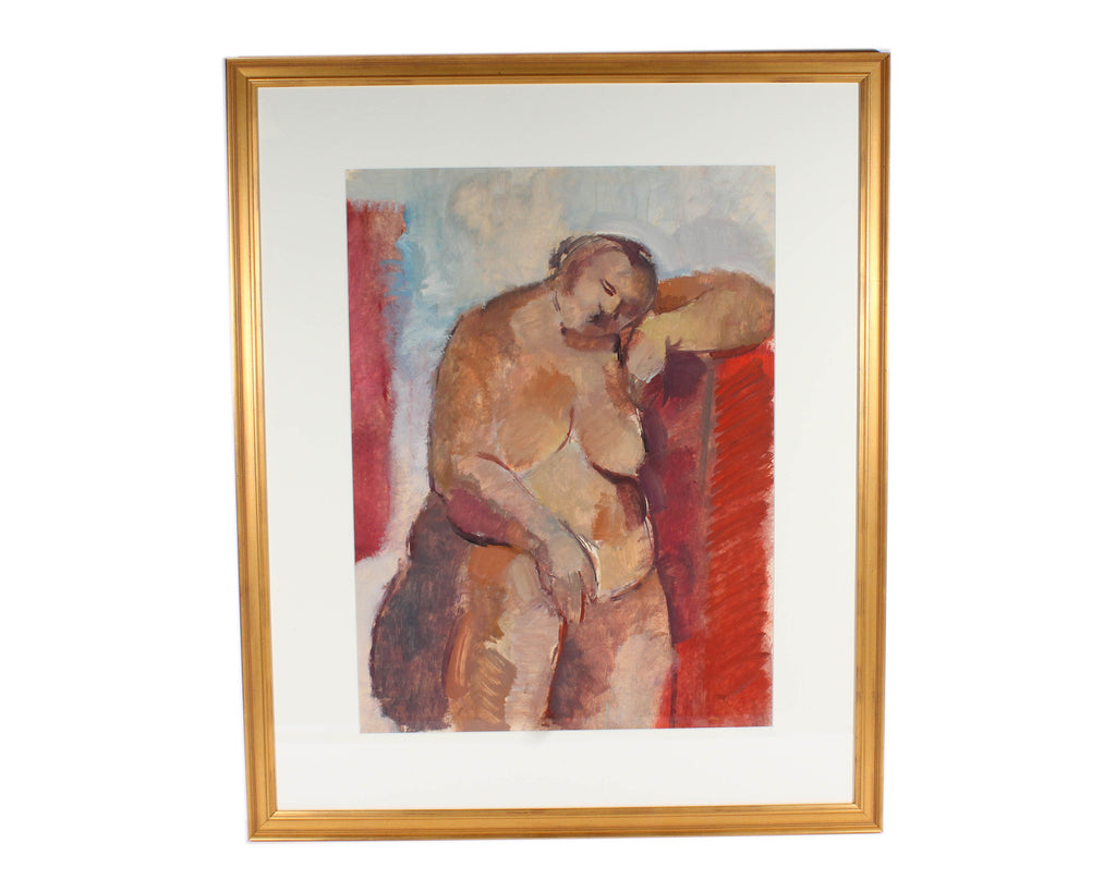 Walter Stomps Oil on Paper Cubist Style Abstract Nude Painting