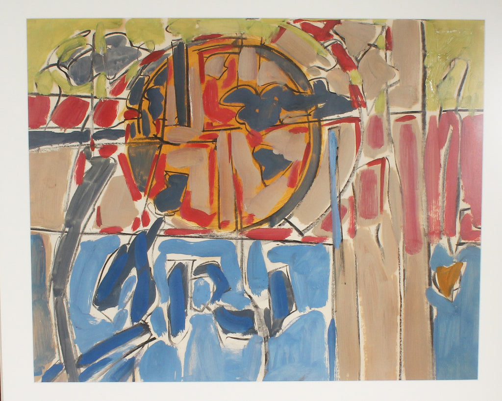 Walter Stomps Oil and Charcoal on Paper Abstract Painting