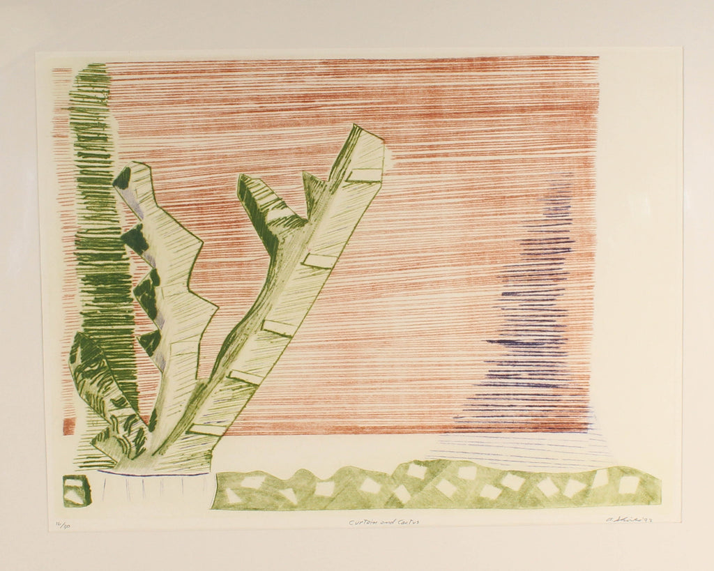 "Arnold Edward Shives 1992 Signed Limited Edition ""Curtain and Cactus"" Abstract Color Etching"