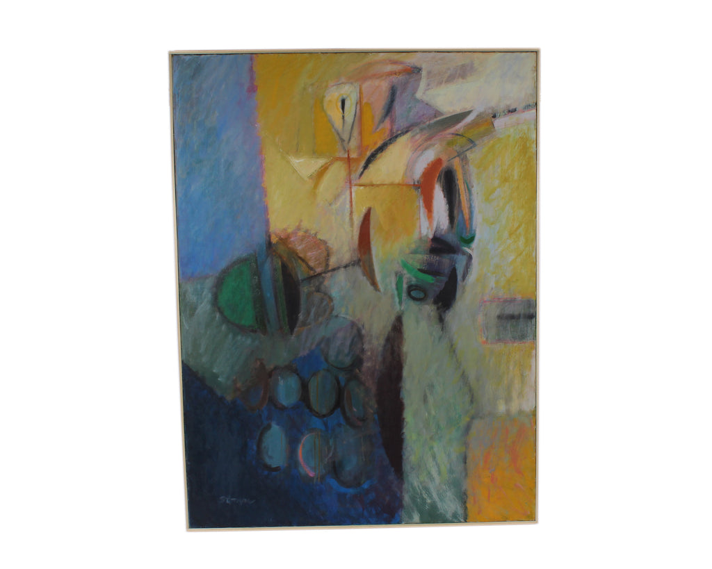 Walter Stomps 1959 Signed Oil on Canvas Abstract Painting