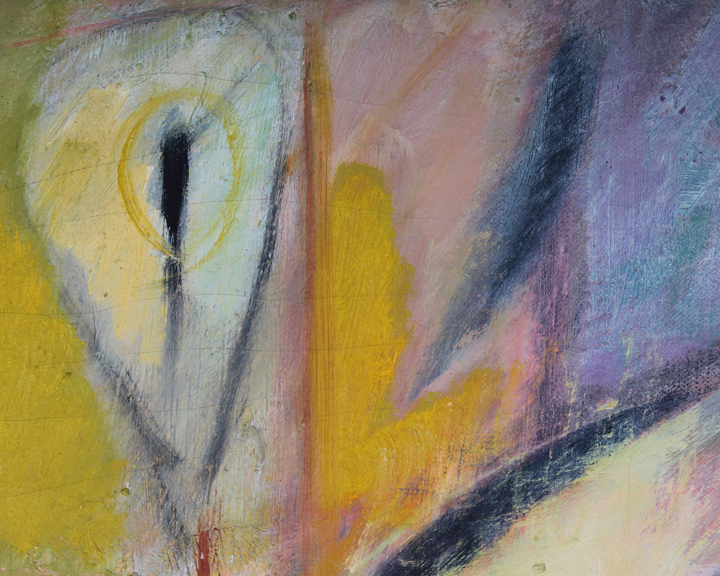 "Walter Stomps 1959 Signed Oil on Canvas ""Blue and Yellow"" Abstract Painting"