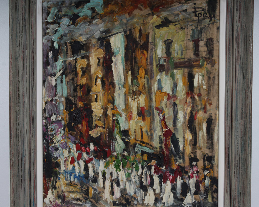 R. Pizzi Signed Mid-Century Oil on Canvas Cityscape Painting