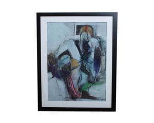 Harry Nadler 1960s Pastel on Paper Figural Abstract Drawing