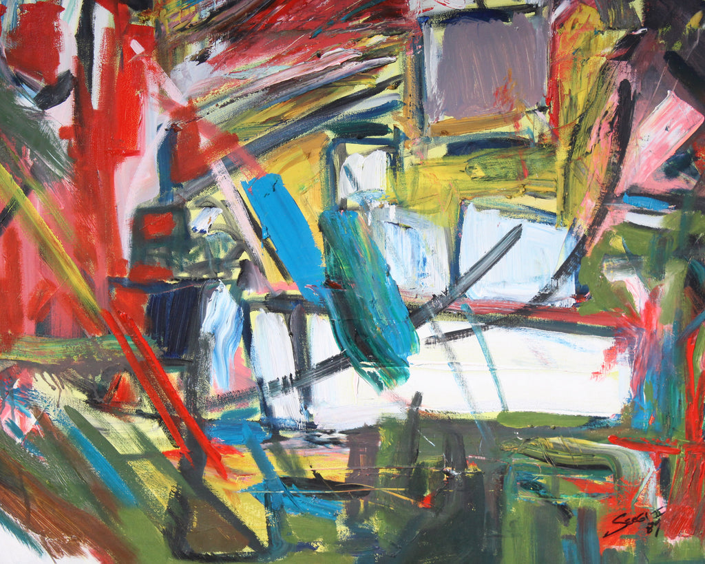 Abstract Signed 1989 Oil on Canvas Painting