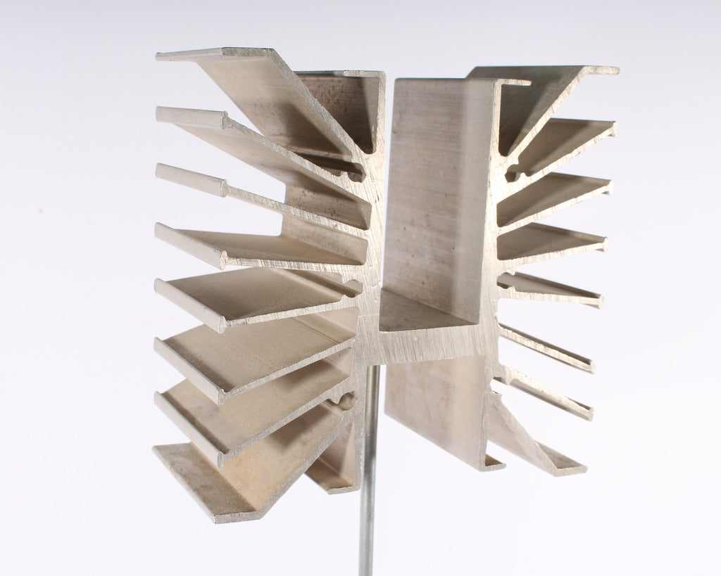 Metal Abstract Sculpture with Wooden Base