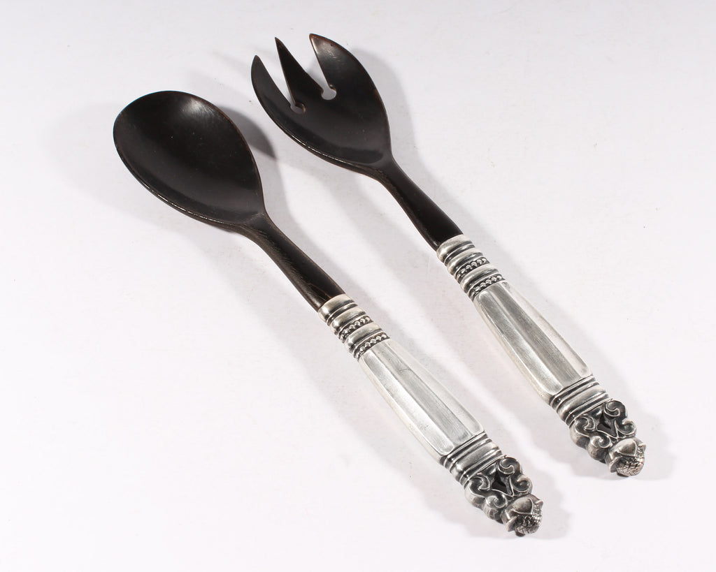 "Georg Jensen ""Acorn"" Sterling Silver and Horn Serving Set"