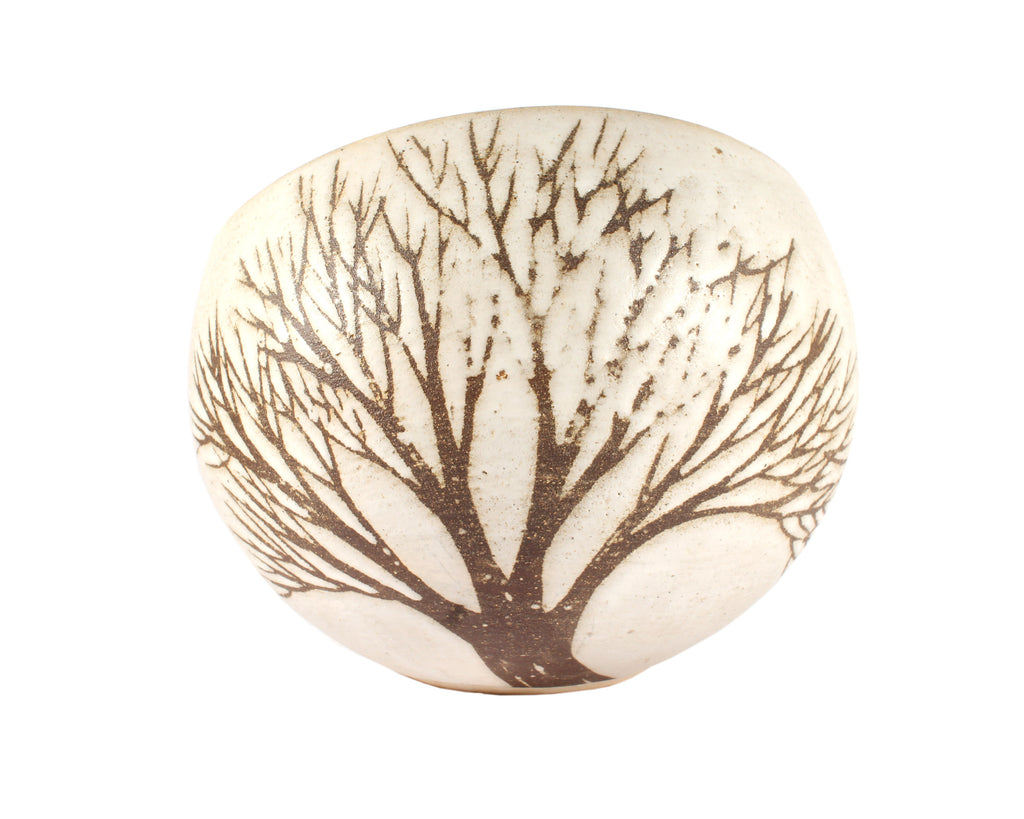 Andersen Design Pottery Round Vase with Tree Design