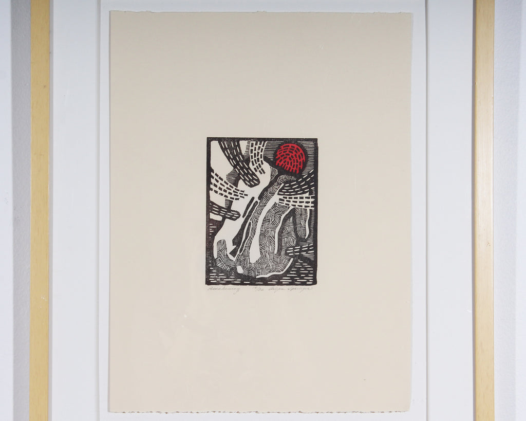 "Arlyne Springer Signed Limited Edition ""Awakening"" Woodblock Print of a Nude"