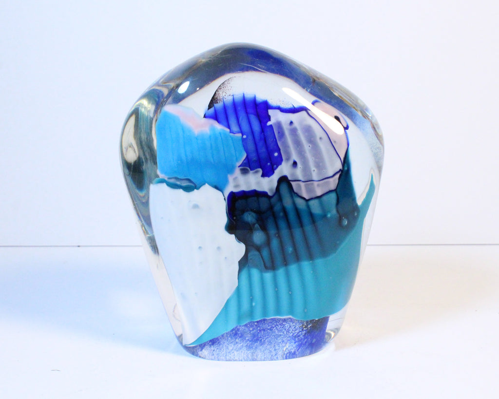 Signed Belucci Abstract Art Glass Sculpture