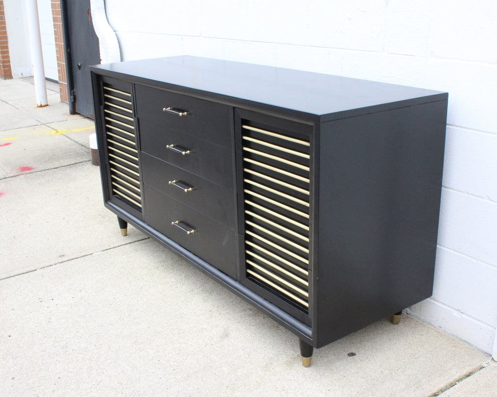 Rway Mid Century Modern Black and Brass Dresser
