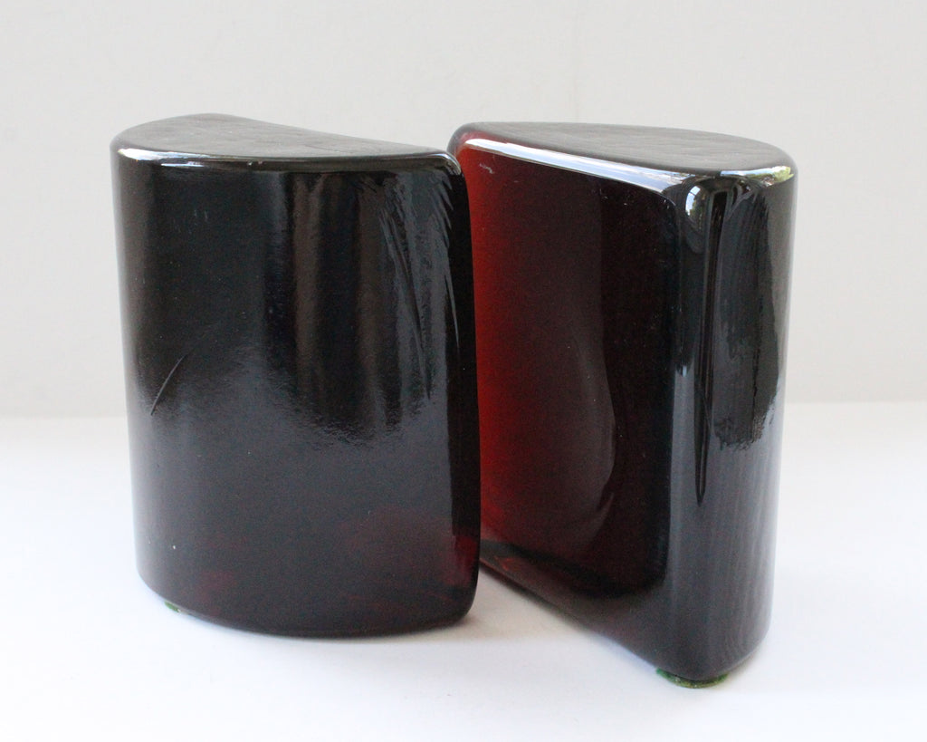"Vintage Blenko Dark Orange or Red ""Half Moon"" Glass Bookends"