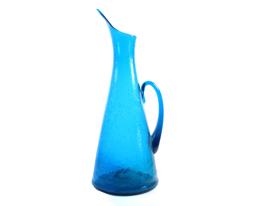 Vintage Blenko #976 Winslow Anderson Design Blue Crackle Pitcher