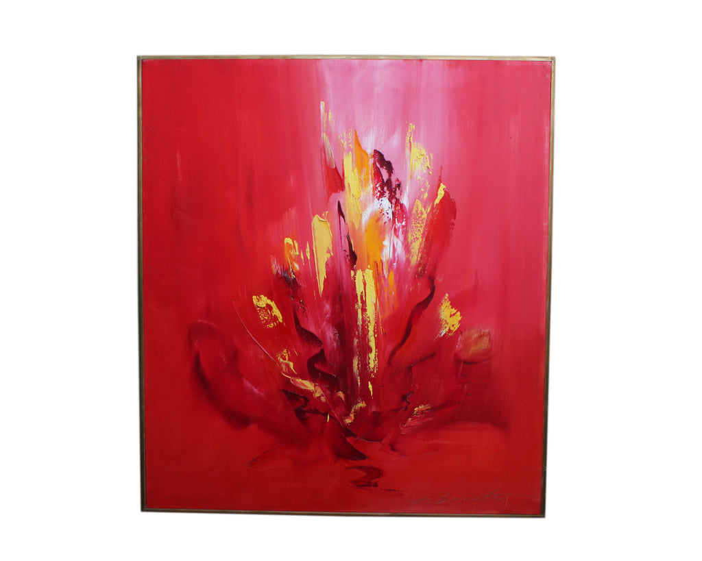 "Franco Bonetti ""Red Fire"" 2004 Oil on Canvas Abstract Painting"