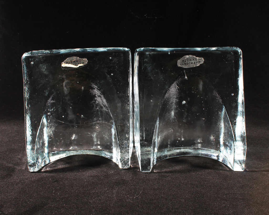 Vintage Wayne Husted for Blenko Clear Glass Bookends