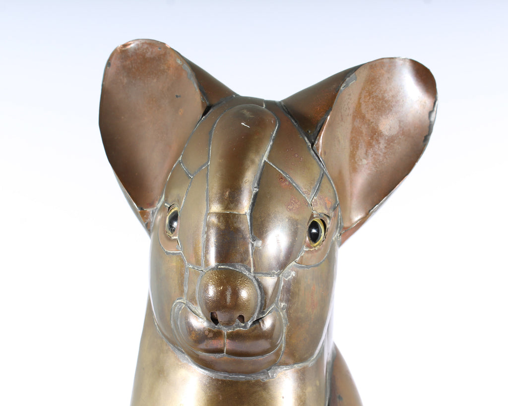 Sergio Bustamante Style Copper Cat Sculpture