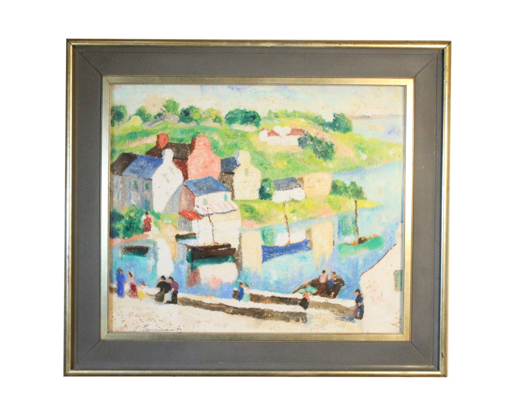 V. Fioravante Signed Oil on Board Italian Canal Scene