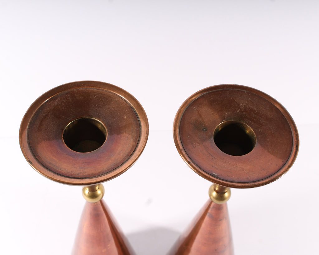 Vintage Mid-Century Pair of Copper Tone Brass Candlestick Holders