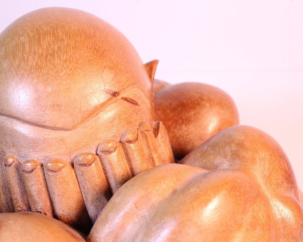 Orung Malu Yogi Weeping Buddha Hand-Carved Palm Wood Sculpture