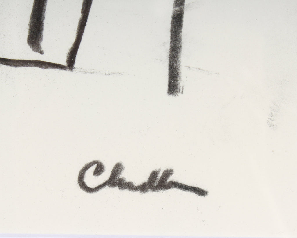 Paul Chidlaw Signed Abstract Landscape Charcoal Drawing