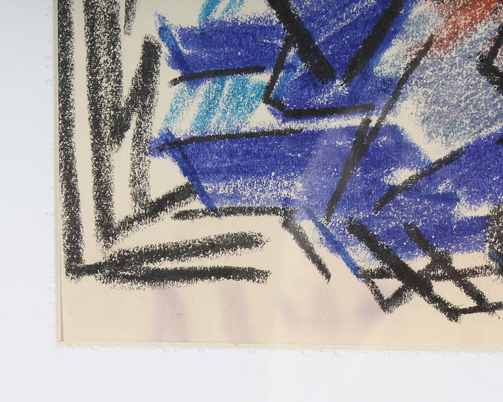 Paul Chidlaw Abstract Expressionist Style Pastel Drawing