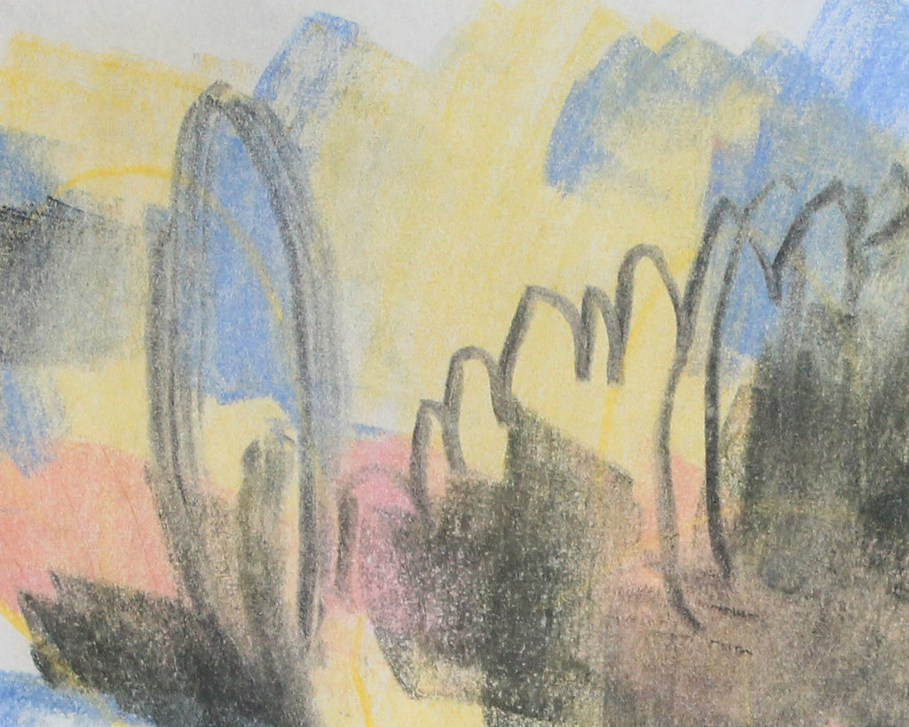 Paul Chidlaw Signed Abstract Crayon Landscape Drawing