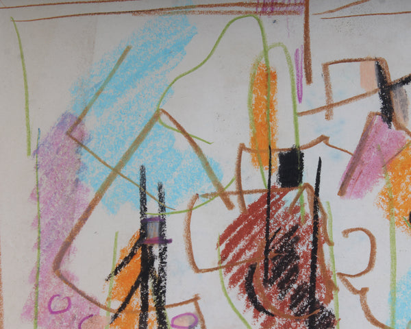 Paul Chidlaw Late 20th-Century Oil Pastel Non-Objective Drawing