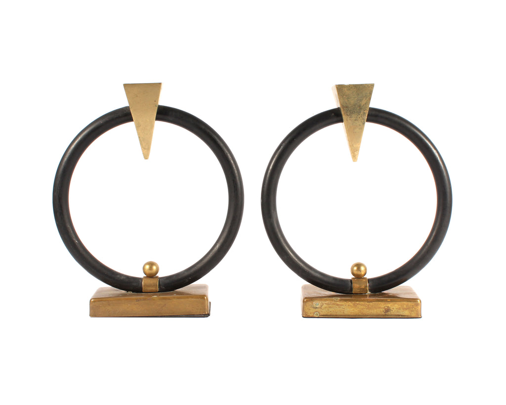 Modernist Style Brass and Black Metal Circle Candlestick Holders