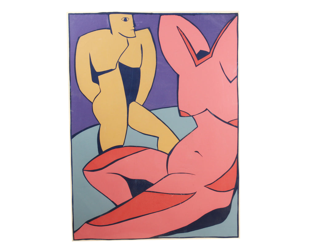 Cubist Style Gouache on Paper Painting of Two Nudes