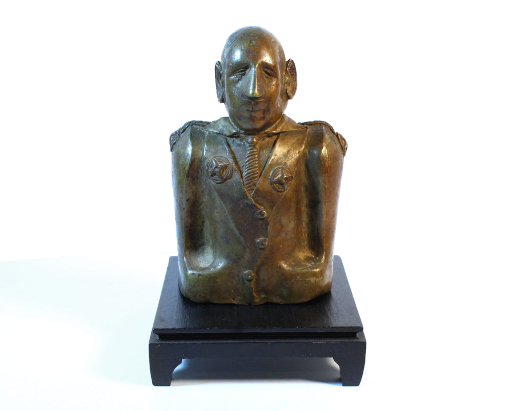 Vintage Modernist Bronze Sculpture of Charles de Gaulle