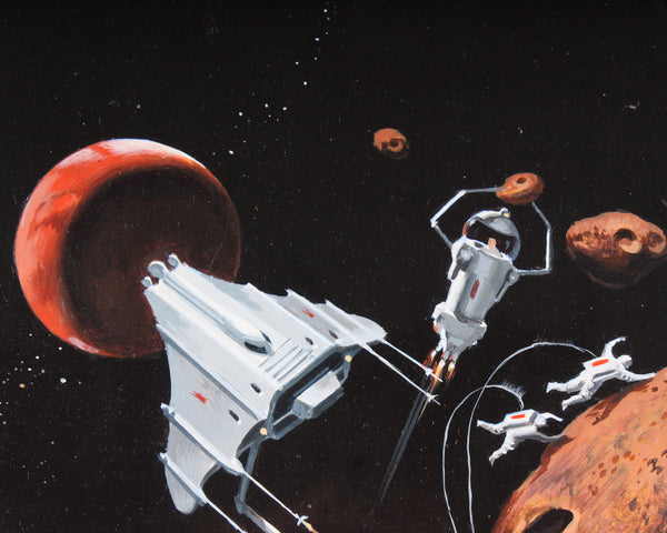 "Vincent Di Fate Oil on Board Science Fiction Illustration Painting for Isaac Asimov's ""Space Garbage"""