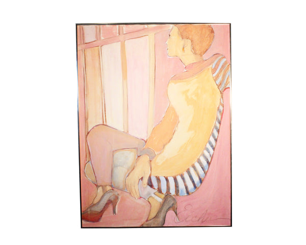 "Charlotte Eicher 1982 Acrylic on Canvas ""As Time Goes By"" Portrait of a Woman"