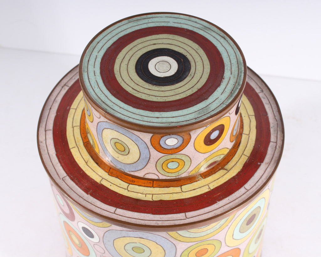 Fabienne Jouvin Paris French Rhondo Cloisonné Enamel Tea Caddy