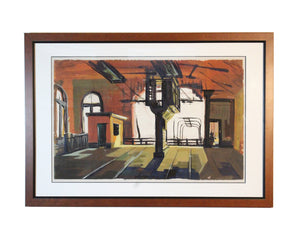 George Flack Signed Gouache Painting of an Industrial Scene