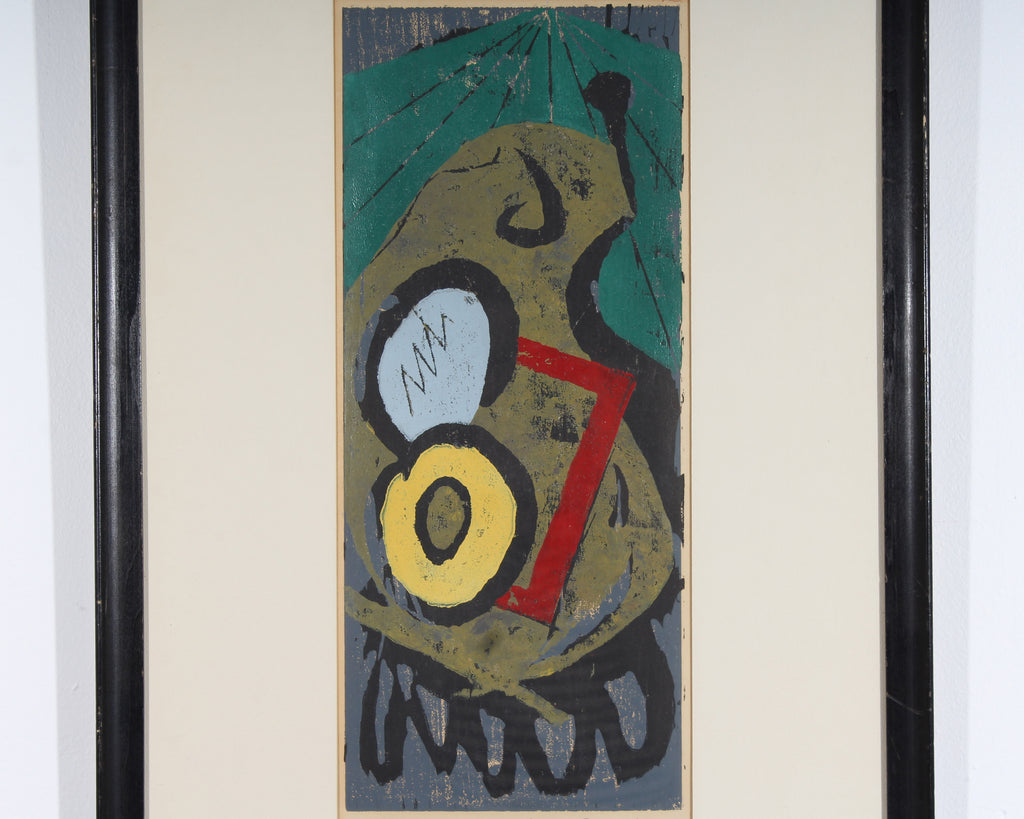 "Robert Freimark 1953 ""Abstraction"" Abstract Woodblock Print"