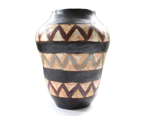 Vintage Mid-Century Hand Built Pottery Vase with Chevron Design