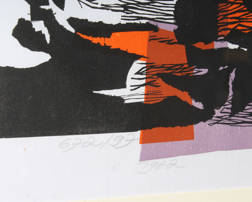 Hans Orlowski 1962 Abstract Portrait Color Lithograph